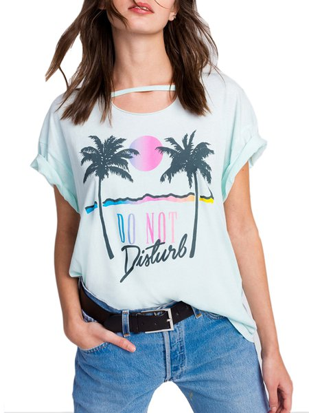 Easy Breezy Light Green Casual Printed T-Shirt