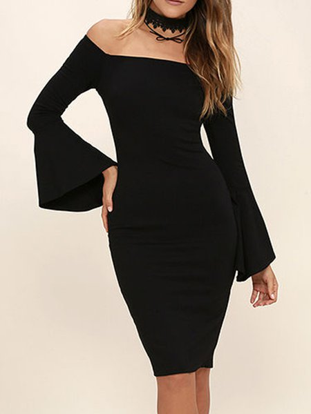 Black Slit Sheath Off Shoulder Bell Sleeve  Dress