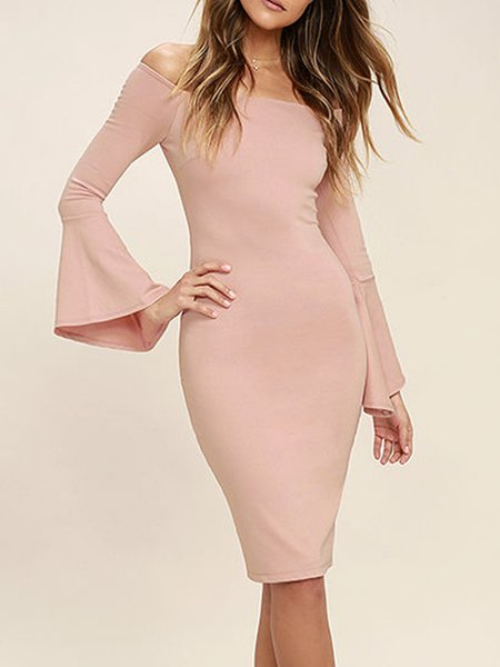 Pink Slit Sheath Off Shoulder Bell Sleeve Dress