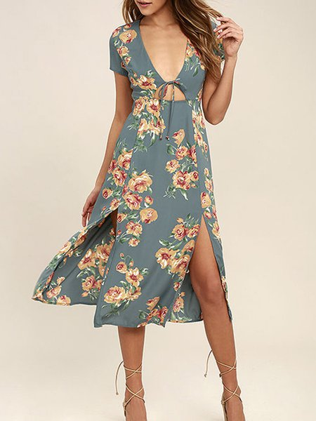Aqua Short Sleeve A-line Floral-print Slit Dress
