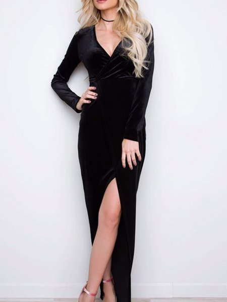 Black V Neck Slit Long Sleeve Solid Velvet Dress
