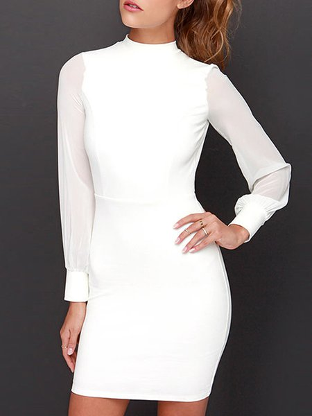 White Cutout Sexy Bodycon Solid Dress