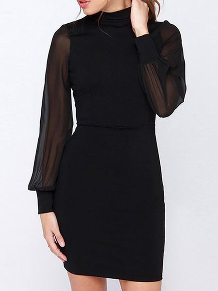 Black Long Sleeve Cutout Back Mock Neck Dress