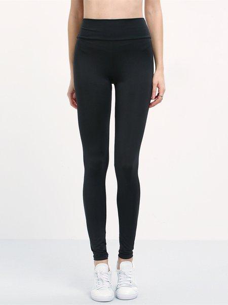 Black Polyester Sports Solid Leggings