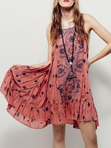 Pink Sleeveless Flounce Cutout Back Dress