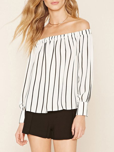Appreciation White Stripes Off Shoulder Top