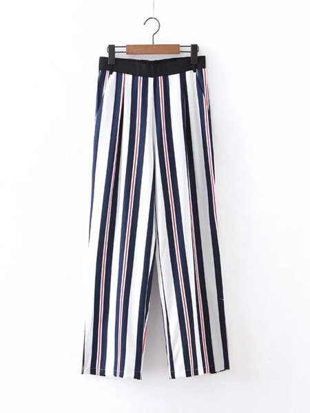 Trend Savvy Multicolor Slit Side Stripes Wide Leg Pants