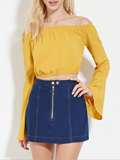 Greatest Hits Yellow Off Shoulder Bell Sleeve Crop Top