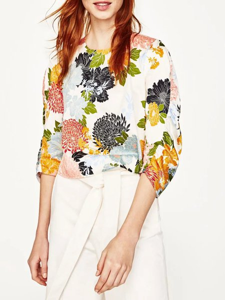 Everyday Holiday Multicolor 3/4 Sleeve Floral Crop Top