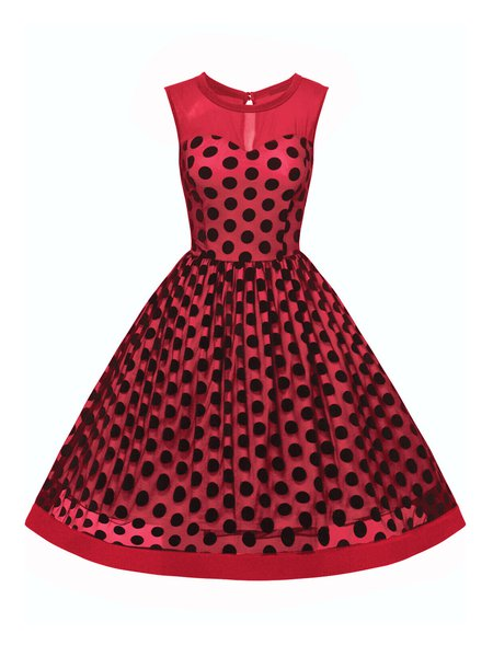 Falling For You Sleeveless Polka Dots Dress