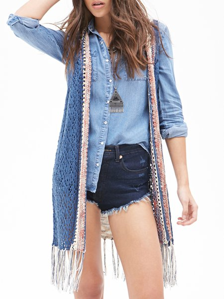 Like a Phenomenon Blue Fringed Sleeveless Cardigan