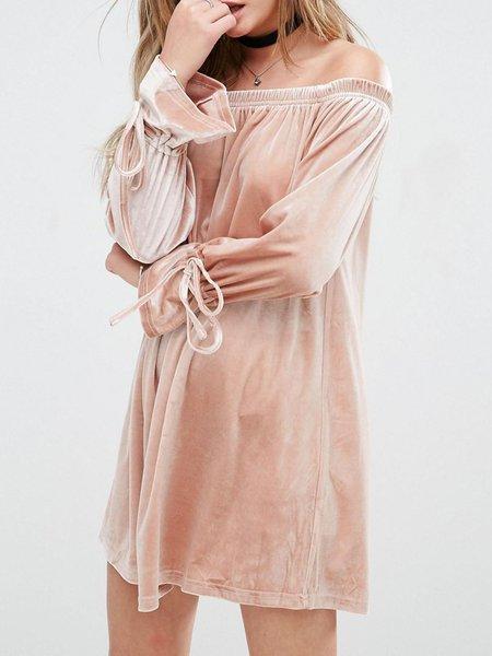 Think of Me Khaki Off Shoulder Dress