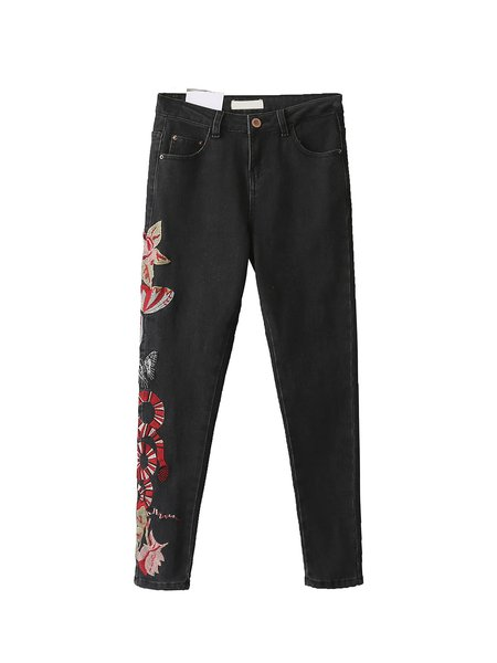 Be Your Hero Black Amimal Embroidered Skinny Jeans