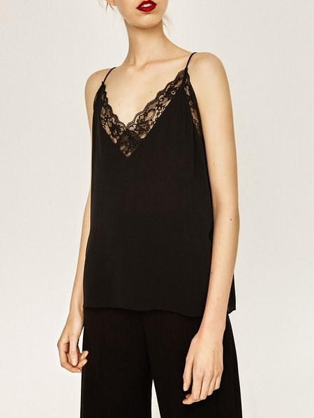 Chic Again Black Spaghetti Lace Trim Cami