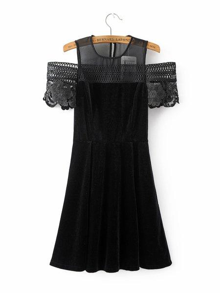 Made Up My Mind Black Cold Shoulder Velvet Dress