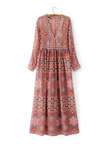 Hit the Mark V Neck Tribal Long Sleeve Maxi Dress