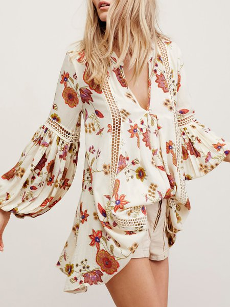 Feeling Free Apricot Balloon Sleeve Floral Tunic
