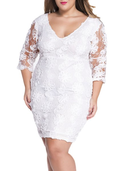Absolutely Gorgeous White V Neck Lace Guipure Dress