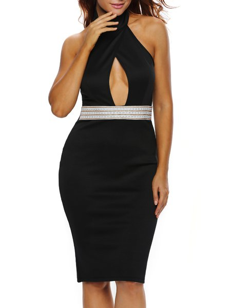 Effortlessly Alluring Black Beaded Halter Cutout Dress