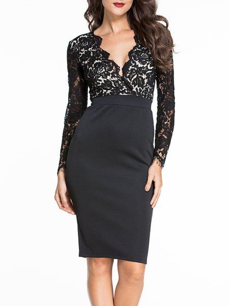 Perfect Contour Black Plunging Long Sleeve Lace Dress