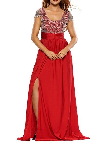 Amazing Head-turner Red Slit Scoop Neckline Dress