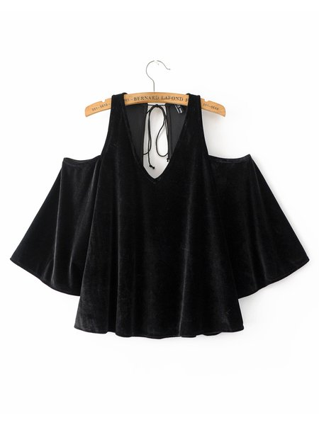 Somebody's Baby Black V Neck Cold Shoulder Top