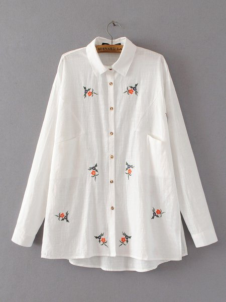 Natural Element Cute Embroidered A-line Shirt