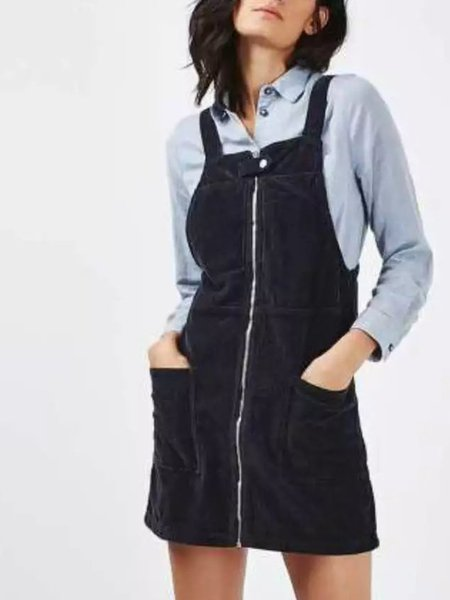 While Away Black Zipper Pockets Overall Dress