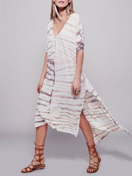 Shape of You Ombre Slit High Low Boho Dress