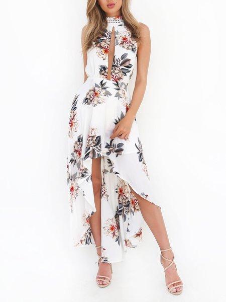 Feel the Magic White Floral Halter Dress