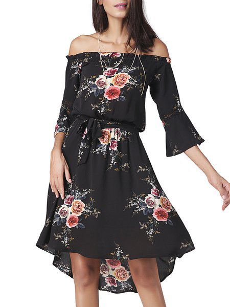 Born To Try Black Off Shoulder Dress with Belt