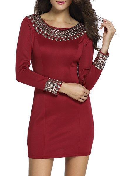 Stylish Staple Burgundy Embellished Dress