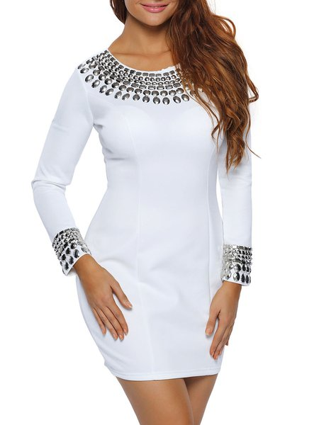 Stylish Staple White Embellished Dress
