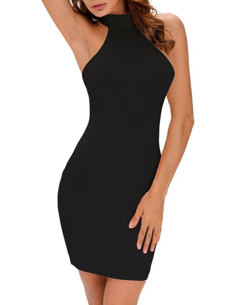 Long Haul Black Backless Elegant Halter Dress