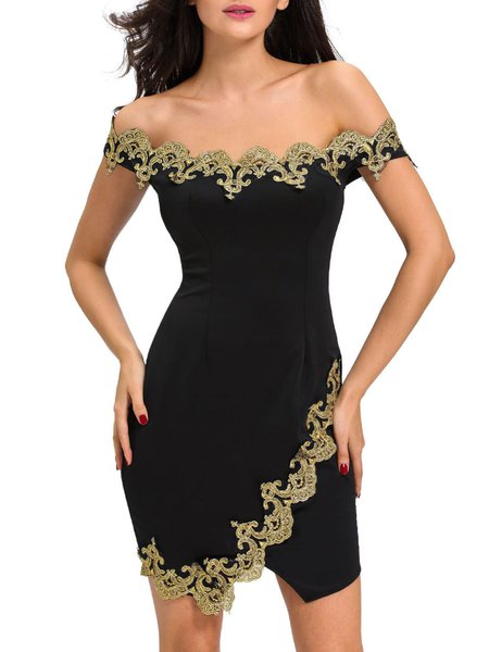 Eye-catching Black Lace Appliqued Off Shoulder Dress