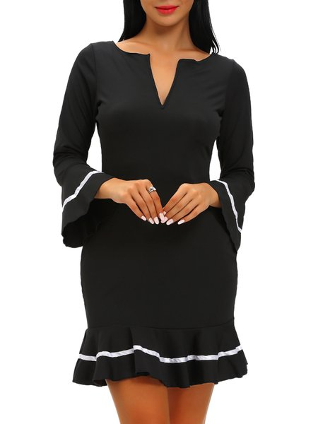 Mysterious Ways Black Ruffled Bell Sleeve Dress