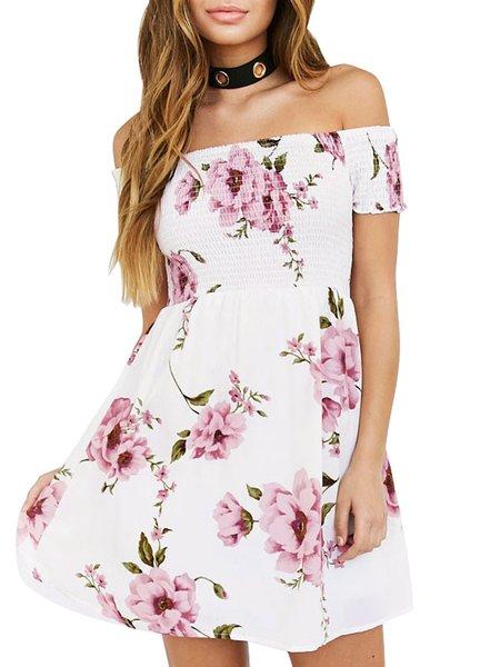 Summer Sensation Pink Shirred Off Shoulder Dress