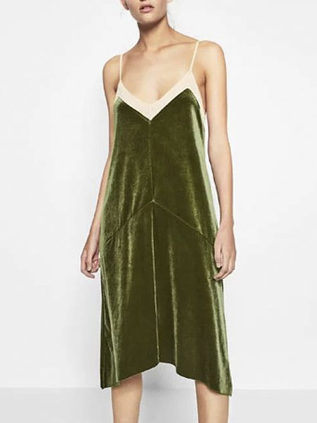 Privileged Life Spaghetti Paneled Velvet Dress