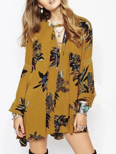 Full Of Grace Yellow Boho Keyhole Printed Dress