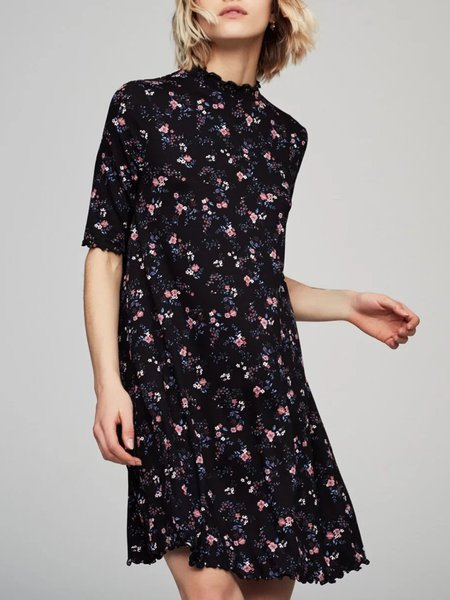 Bloom On Black Floral-print A-line Dress