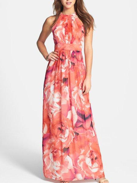 Runaway Coral Printed Halter Sleeveless Maxi Dress