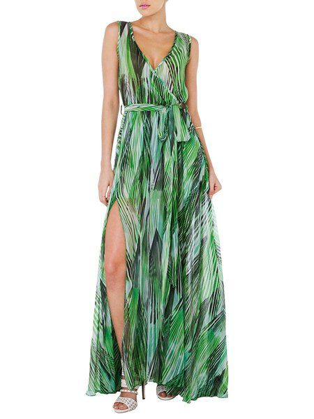 Palm Love Green Surplice Neck Slit Dress