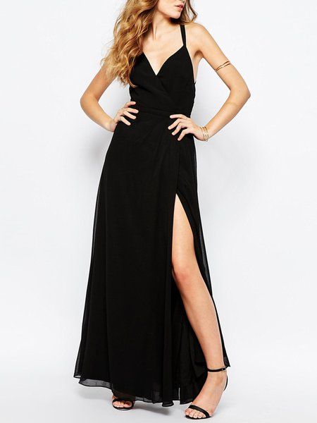 Fine Time Black Strappy Back Maxi Dress