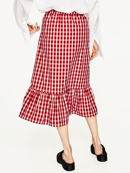 Super Lady Red Elegant Plaid Flounce Layered Skirt ...