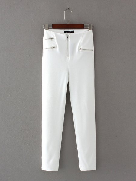 Hotel Paradise White Solid Zipper Leggings