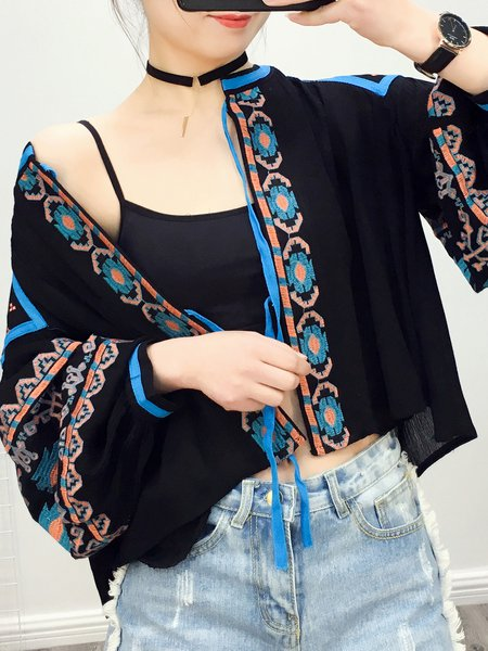 Stop Right There Black Balloon Sleeve Boho Jacket