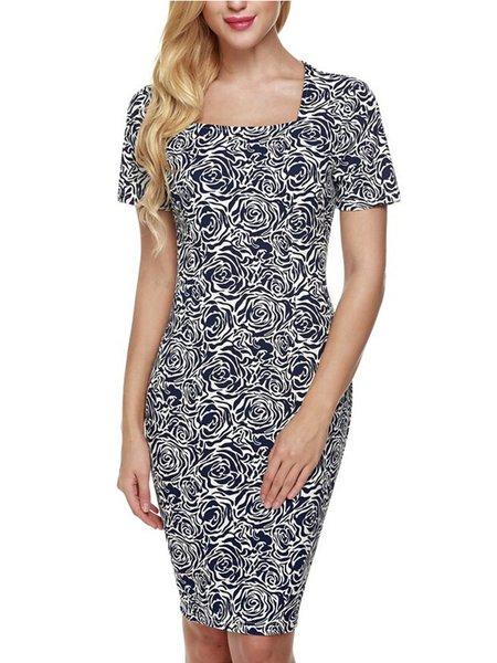 Oblivion Elegant Square Neck Short Sleeve Dress