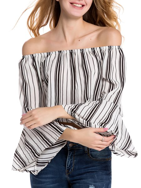 All A Dream White Stripes Bell Sleeve Off Shoulder Top
