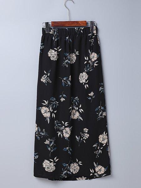 City High Black Slit Floral A-line Skirt - JustFashionNow.com