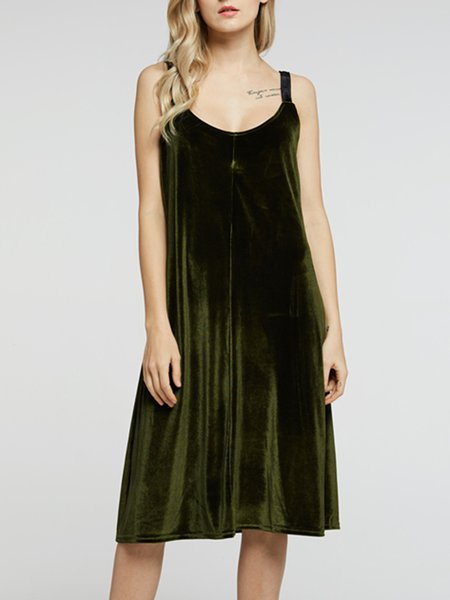 Keep Calling You Army Green Spaghetti Velvet Dress